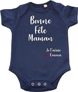DSTNY Body Bébé Bonne Fête Maman Je t'aime + PRÉNOM à Personnaliser Cadeau vêtement Naissance Original pour la fête des mères