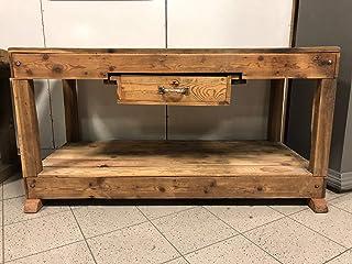 Banco da lavoro falegname console piano bar 1 cassetto legno massiccio abete restaurato 150x70h80
