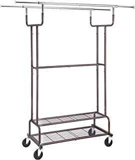 Simple Trending Double Rail Clothes Garment Rack, Heavy Duty Commercial Grade Clothing Rolling Rack on Wheels and Bottom S...