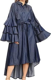 Sakkas Esila Women Chambray Long Sleeve Loose Plain Maxi Shirt Dress High-Low Boho