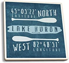 Lake Huron, Michigan - Lake Essentials - Latitude and Longitude (Set of 4 Ceramic Coasters - Cork-Backed, Absorbent)