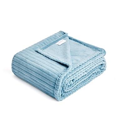 FFLMYUHUL I U Fuzzy Throw Blanket with Super Soft and Warm Throw Flannel Blanket Light Blue