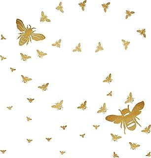 BeeWallDecals HoneyBee Wall Decor BeeWall Stickers GoldHoneyBeeDecals,HoneycombWall Decals,Nursery WallDecor Pe...