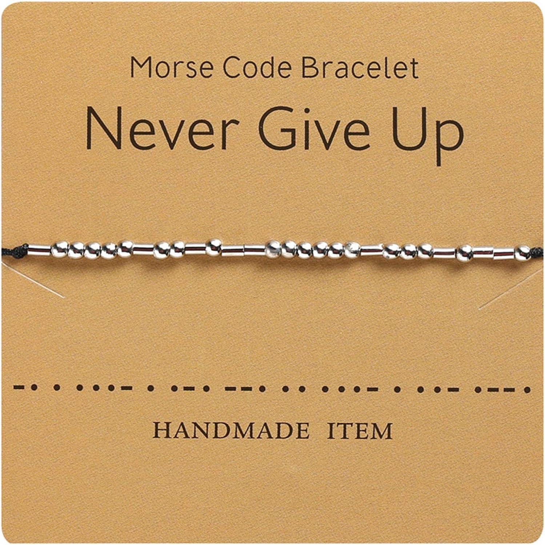 Timesuper Best Friend Morse Code Bracelet Jacksonville Mall on Silk Beads Max 60% OFF Cor 2pcs