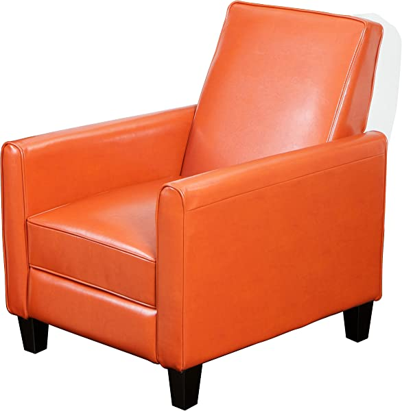 Best Selling Davis Leather Recliner Club Chair Burnt Orange
