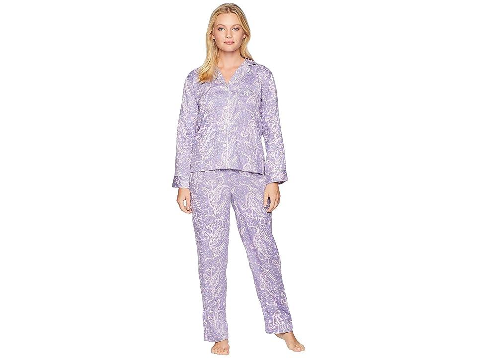 LAUREN Ralph Lauren Petite Classic Woven Long Sleeve Pointed Notch Collar Pajama Set (Lilac Print) Women