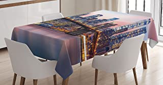 Ambesonne New York Tablecloth, Brooklyn Bridge and Lower Manhattan Skyline Under Pink Sunrise Long Exposure Art Image, Rectangular Table Cover for Dining Room Kitchen Decor, 60