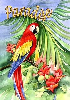 Toland Home Garden Macaw Paradise 12.5 x 18 Inch Decorative Colorful Tropical Flower Exotic Jungle Bird Garden Flag