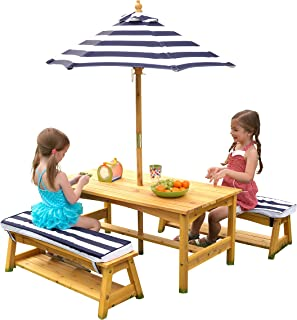 kidkraft outdoor table & bench set with umbrella