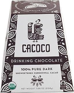 CACOCO 100% Pure Dark Unsweetened Drinking Chocolate: Zero Sugar / Keto / Organic / Fair Trade / Vegan / Kosher / Paleo Fr...