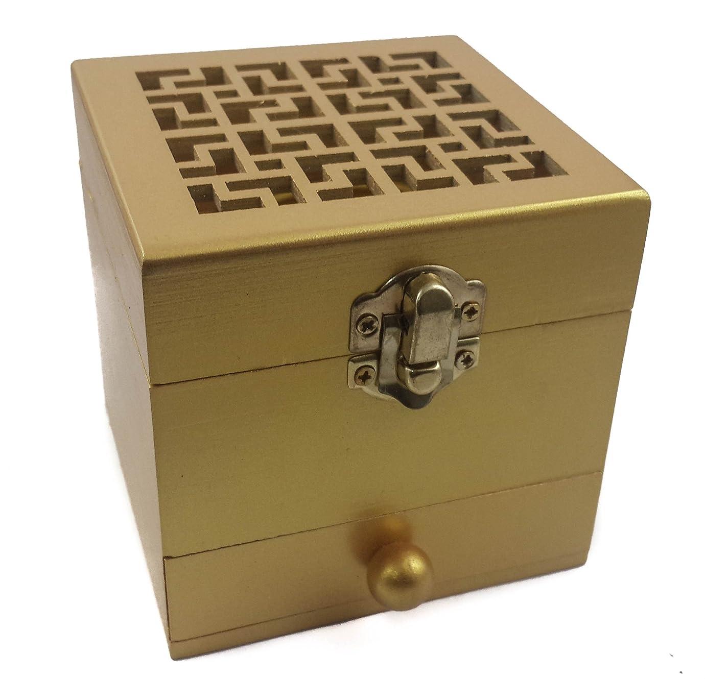 うなり声写真の驚ナザレスStore木製チャコールIncense Burner樹脂ホルダーゴールドカラーナチュラルウッドボックスDistiller Vessel