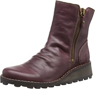 FLY London Women's Mon Rug Leather Zip Ankle Boot Purple