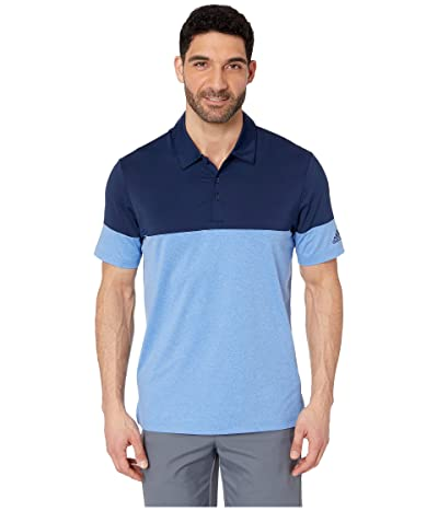 adidas Golf Ultimate 3-Stripes Heather Blocked Polo (True Blue Heather/Collegiate Navy) Men