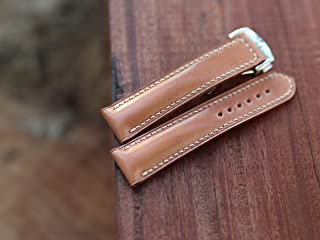 Handmade Shell cordovan watch band leather - Shell cordovan Watch strap - Padded Style For Deployment Clasp