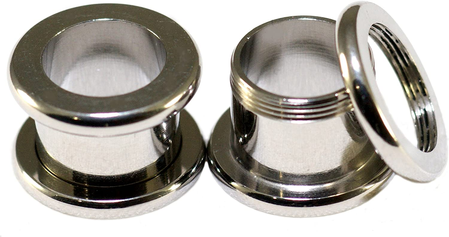 Screw-On Fit Surgical Steel 7 16 Inch E Gauge Tunnels Max 79% OFF 11mm Flesh trust