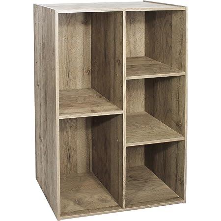 Iris Ohyama Étagère de rangement 5 casiers en bois MDF - Basic Wood Shelf CX-23C - chêne brun cendré, L60 x P29 x H87.9 cm 531566