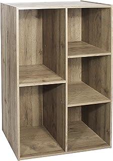 Étagère de rangement 5 casiers en bois MDF - Basic Wood Shelf CX-23C - Brun cendré, L60 x P29 x H87.9 cm