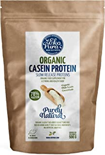 Organic Casein Protein - Purely Natural - 78% Protein - From happy grass fed German cows - No additives - 500g