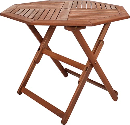 lowest Sunnydaze Meranti Wood Folding Octagon Table with Teak Oil Finish - 35.5-Inch Outdoor Wood Dining Table - Perfect for Camping and Outdoor Entertaining - outlet sale Ideal for online sale The Backyard, Front Porch and Patio outlet online sale