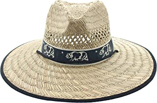 JFH American US State Pride Wide Brim Beach Sun Straw Hat with Chin Cord