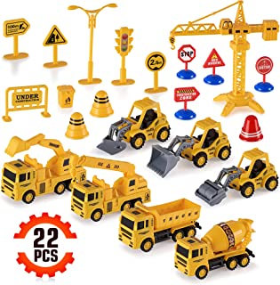 Construction Trucks Toy Set Toys for Kids Boys and Girls Age 3 Year Old & Up – Fun, Educational & Interactive vehicles STEM Toys – Life-like & Attention to Details – Complete Construction Equipment