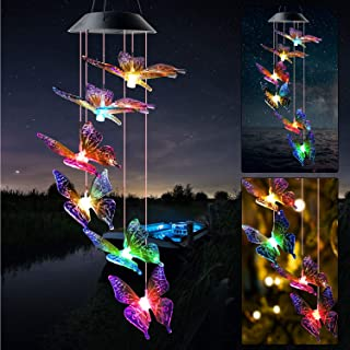 JOBOSI Color Butterfly Wind Chimes Gifts for mom Solar Wind Chime Butterfly Wind Chimes Glowing Wind Chimes Outdoor Decor ...