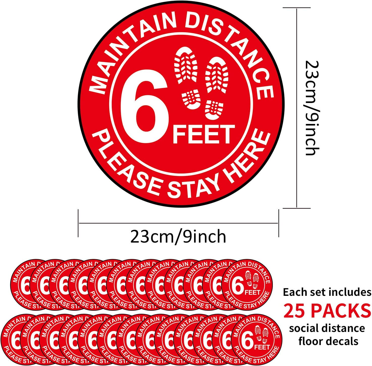 Supermarket Business Safety Floor Sign Marker/Stay Here Label for School Red, White 25 Packs 6 Feet Social Distancing Floor Decal Stickers Grocery Bank