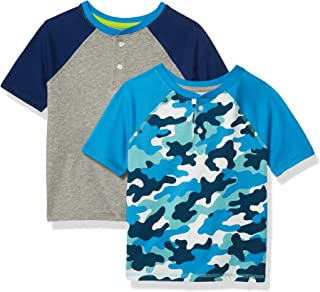 Amazon Essentials 2-Pack Boys Short-Sleeve Henley Shirt Fashion-t-Shirts, Paquete de 2 Camuflaje Azul, EU 104-110 CM