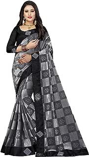 Shonaya Women's Lycra Border Work Saree with Unstitched Blouse Piece (Grey and Black_Free Size)