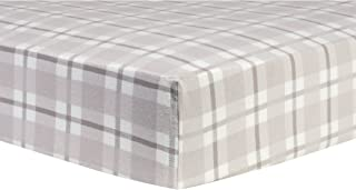 Trend Lab Gray and White Plaid Deluxe Flannel Fitted Crib Sheet