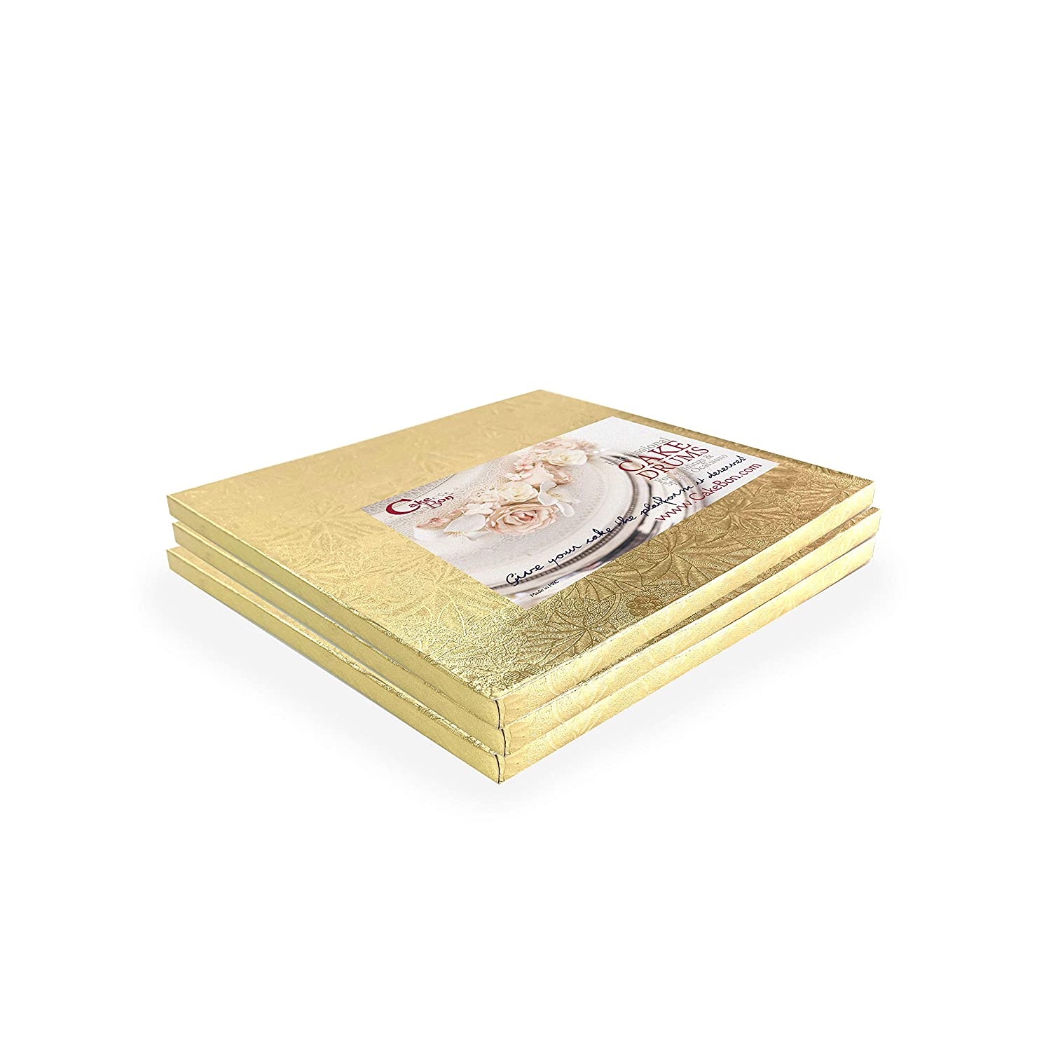 Cake Arlington Mall Drums Many popular brands Square 8 Inches - Gold 2 Th 1 Sturdy Inch 3-Pack