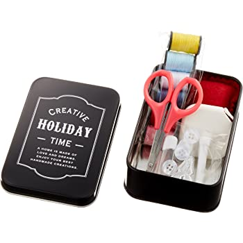 ミササ 裁縫セット ソーイングセット ブラック ミニブリキ缶 8209
