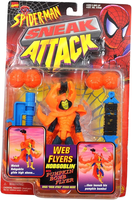 Marvel Comics Year 1997 SpiderMan Sneak Attack Web Flyers 5 Inch Tall Action Figure  Web Flyer HOBGOBLIN with Pumpkin Bomb Flyer Plus Bonus  Sneak Attack  Sticker
