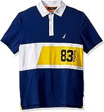 Nautica Men's Short Sleevel N83 Stripe Logo 100% Cotton Polo Shirt