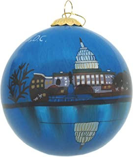 Hand Painted Glass Christmas Ornament - Washington D. C. - U.S. Capitol at Night