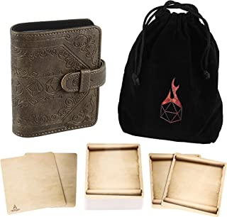 Forged Dice Co Spellbook of Incantations (Dice Edition) Spellbook Card Holder & Deck of Dry Erase Cards with Velvet Storag...