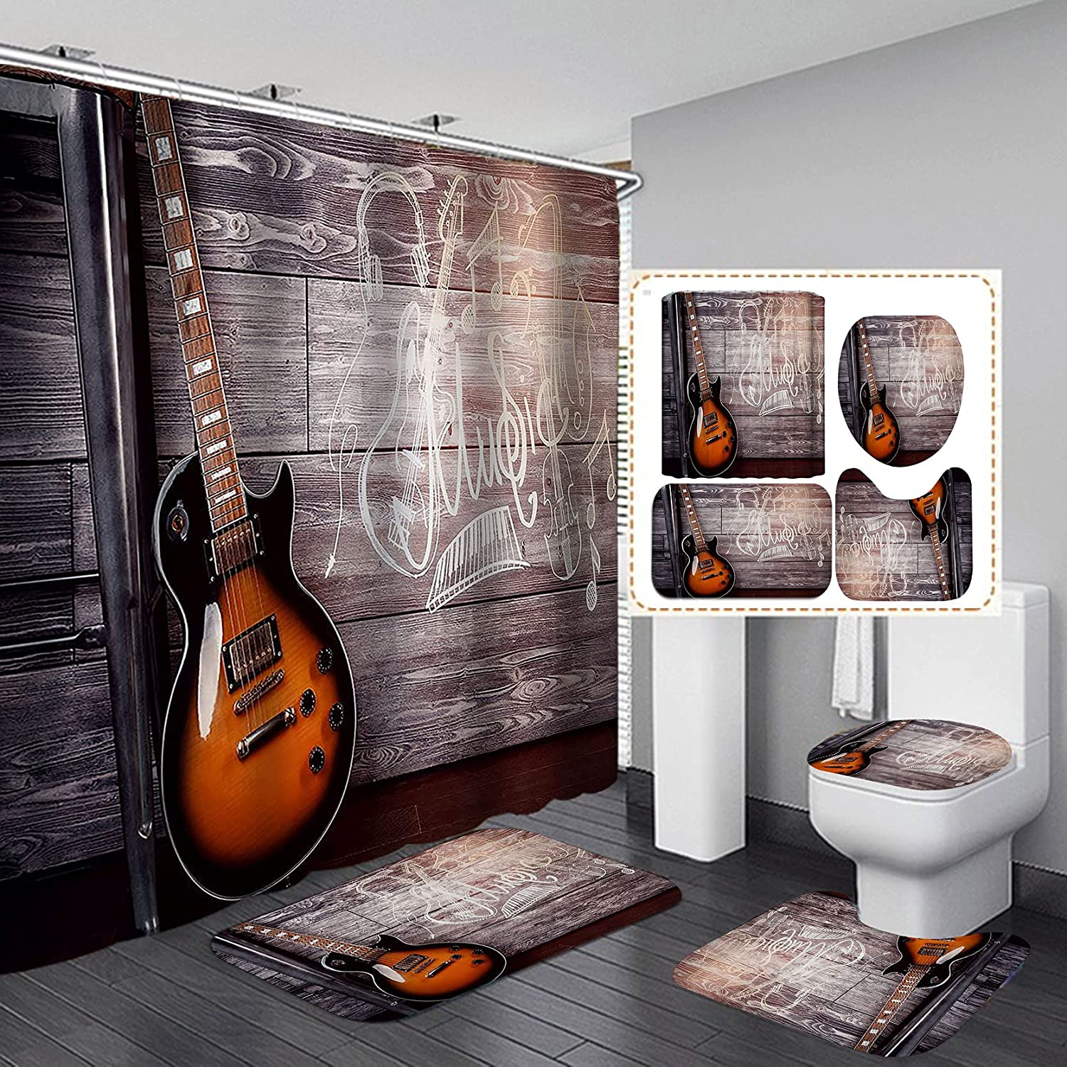 Fashion_Man 4PCS Set Guitar Shower Notes Musica 2021 Topics on TV autumn and winter new Musical Curtain