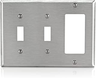 Leviton 84421-40 3-Gang 2-Toggle Decora/GFCI Device Combination Wallplate, Stainless Steel