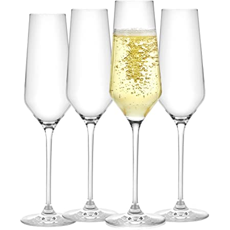 JoyJolt Champagne Flutes – Layla Collection Crystal Champagne Glasses Set of 4 – 6.7 Ounce Capacity – Ideal for Home Bar, Special Occasions