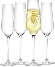 JoyJolt Champagne Flutes – Layla Collection Crystal Champagne Glasses Set of 4 – 6.7 Ounce Capacity – Ideal for Home Bar, ...