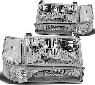Pair of Chrome Housing 6pcs Headlight+Bumper+Corner Lamp for Ford F150 F250 Bronco 92 93 94 95 96