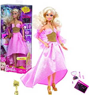 Barbie Mattel Year 2012 I Can Be Series 12 Inch Doll Set as Actress (Y7373) with Action Board, Award Trophy and Make-Up Accessories