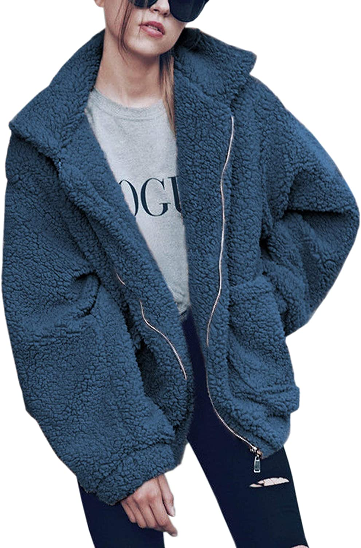 Hiblueco Women's Long Sleeve Lapel Faux Fur Zip up Fleece Coat