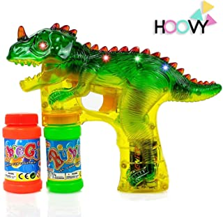 Hoovy Dinosaur Bubble Gun Blower Shooter Light Up LED Flashing Lights Plays Sounds   Bubble Dinosaur Toys for 2 3 4 5 6 7 Year Old Boy Girl   Bubble Blower for Kids (1 Pack)