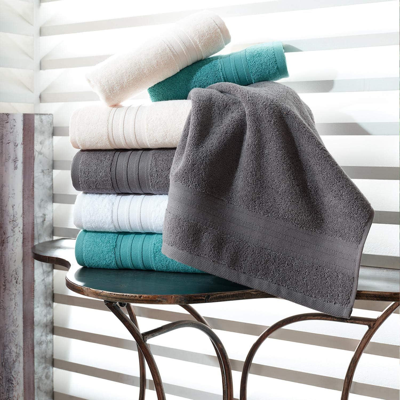 Hammam Linen Serviettes de Bain en Coton Turc tr/ès absorbantes 4 Bath Towels Blanc