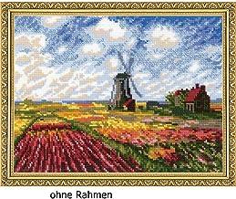 Riolis–El Campo de Tulipanes, basado en Gemälde C. Monet Cruz, algodón, Multicolor, 33x 25x 0,1cm