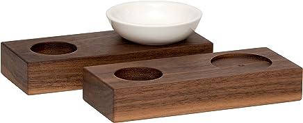 Preisvergleich für Eierbecher Holz Set 2 Stück, Design Nussbaum natur, handgemacht aus Echtholz massiv, stapelbar, ohne Fuß, inklusive Keramikschale