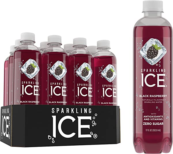 Sparkling Ice Black Raspberry Sparkling Water With Antioxidants And Vitamins Zero Sugar 17 FL OZ Bottles Pack Of 12