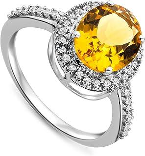 Miore Jm038R11W 9 克拉 白金女式椭圆形 - 形黄水晶和钻石戒指