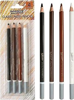 مجموعة أقلام تلوين الفحم الاحترافية، 4 أقلام رصاص بلون الفحم الفحمي وأقلام رصاص ملونة بلون البشرة الداكنة للرسم والرسم وال...